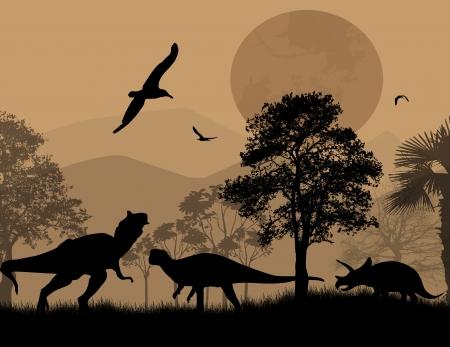 dinosauro: Dinosauri sagome in uno splendido paesaggio di notte, illustrazione vettoriale