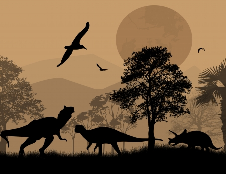 dinosaurio: Dinosaurios siluetas en paisaje hermoso en la noche, ilustraci�n vectorial