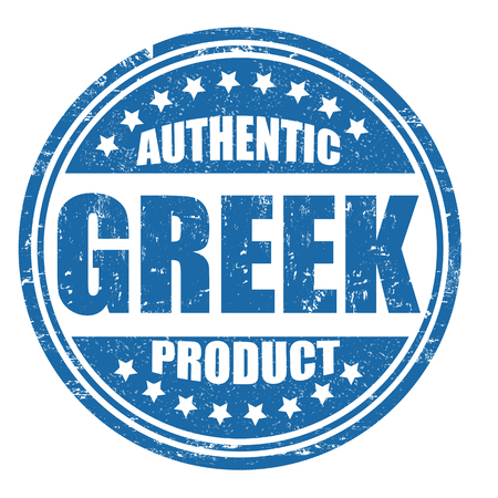 Authentic greek product grunge rubber stamp on white, vector illustration Vector