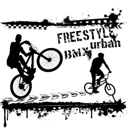 mtb: Bmx urban riders - Grunge vector artwork for boy sportswear on white, vector illustration Illustration