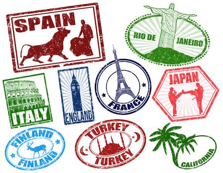 pasaporte: Conjunto de sellos de viajes grunge estilizada en blanco, ilustración vectorial