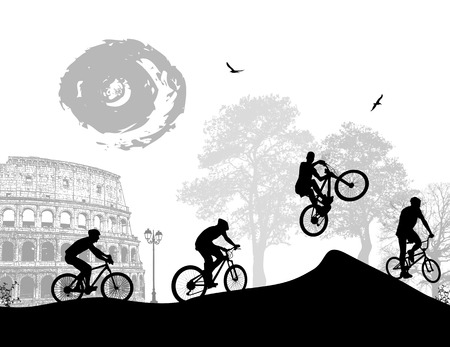 colloseum: Bicycle riders at Rome in front of colloseum, vector illustration Illustration