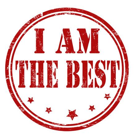 am: Grunge I am the best rubber stamp on white, vector illustration Illustration