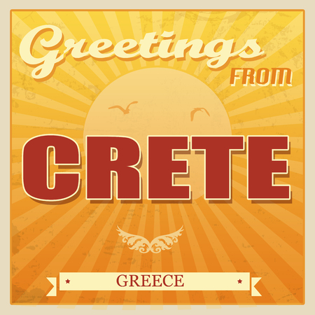 ecard: Vintage Touristic Greeting Card - Crete, Greece, vector illustration
