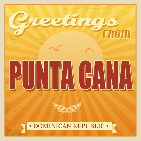 Vintage Touristic Greeting Card - Punta Cana, Dominican Republic, vector illustration Vetores