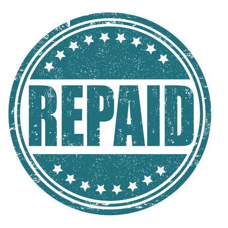 compensated: Repaid grunge rubber stamp on white, vector illustration