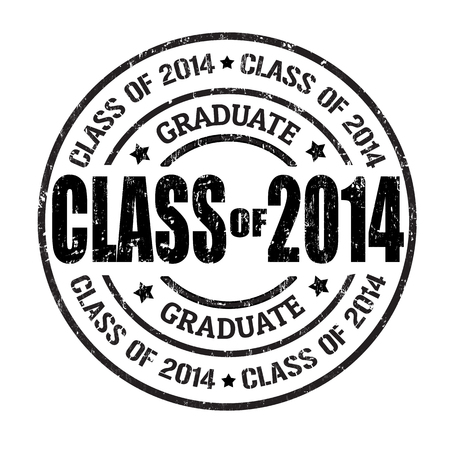 Class of 2014 grunge rubber stamp on white, vector illustration