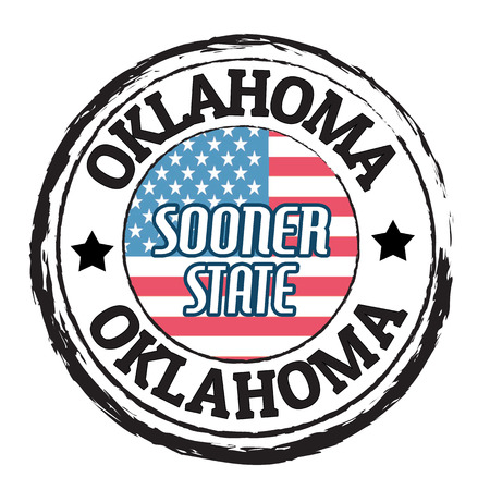 oklahoma: Grunge rubber stamp with flag and the text Oklahoma, Sooner State, vector illustration Illustration