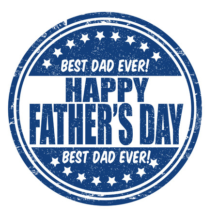 Fathers day grunge rubber stamp on white, vector illustration