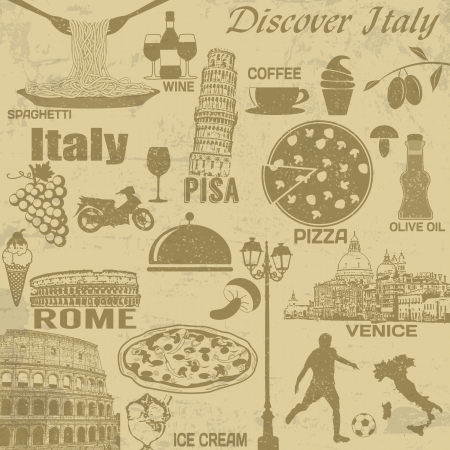 pizza place: Italy travel grunge seamless pattern with national italian food, sights, map and flag Illustration