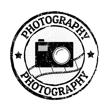 Photography grunge rubber stamp on white, vector illustration Vector