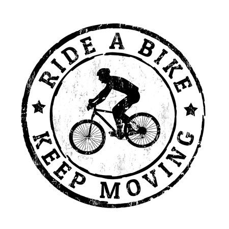 bicicleta vector: Andar en bicicleta, mantenerse en movimiento grunge sello de goma en el fondo blanco, ilustración vectorial Vectores