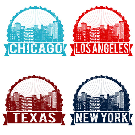 Set of grunge rubber stamps of Chicago, Los Angeles, Texas and New York on white, vector illustration Illustration