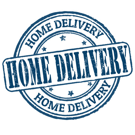 Home delivery grunge rubber stamp on white, vector illustration