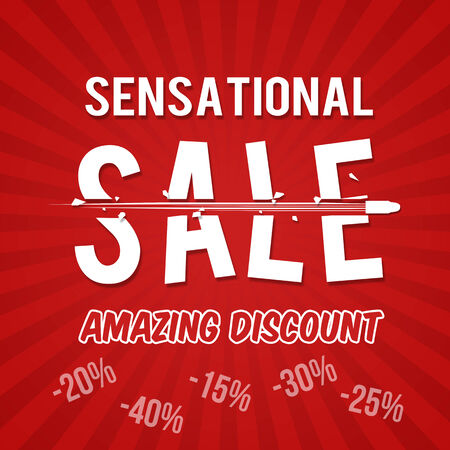 sensational: Sensational sale, amazing discount design template with bullet, vector illustration