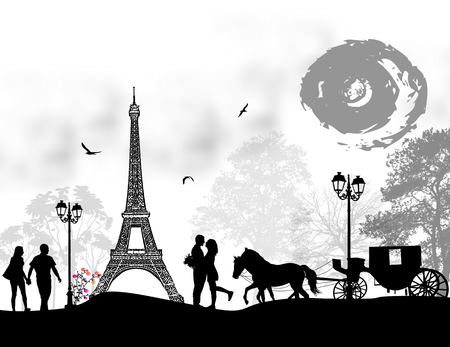 Carriage and lovers in Paris, romantic background, vector illustration