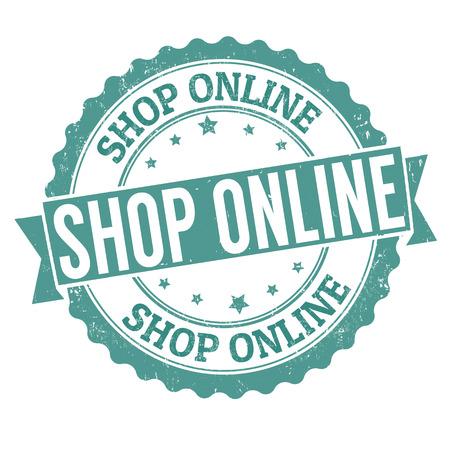 Shop online grunge rubber stamp on white, vector illustration Stock Vector - 25402537