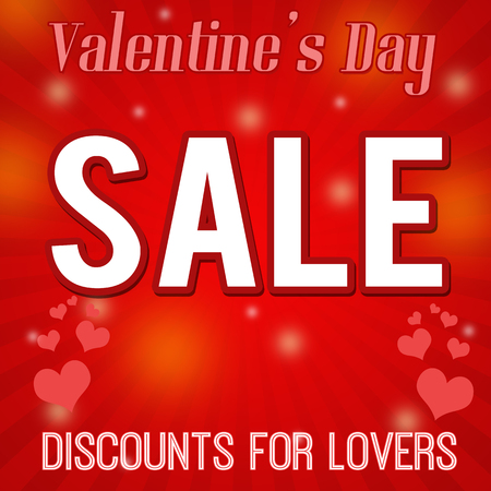 reductions: Valentines day sale - discounts for lovers, design poster, vector illustration Illustration