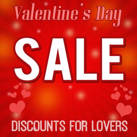sensational: Valentines day sale - discounts for lovers, design poster, vector illustration Illustration