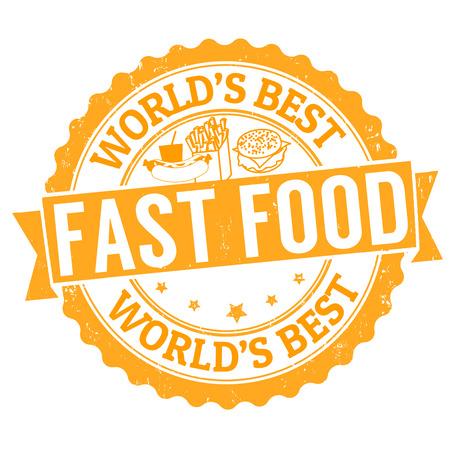 Fast food grunge rubber stamp on white, vector illustration Vector
