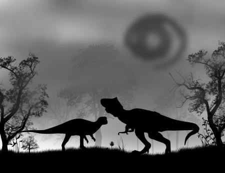 jurassic: Dinosaurs Silhouettes - Tyrannosaurus T-Rex in the forest, vector illustration Illustration