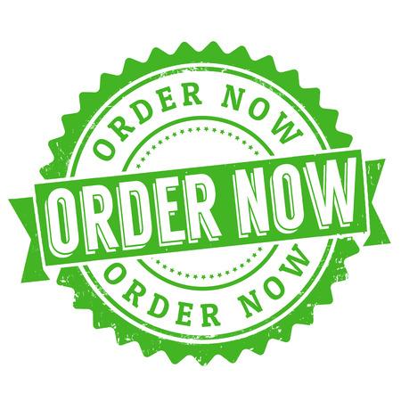 Order now grunge rubber stamp on white, vector illustration Stock Vector - 25402541