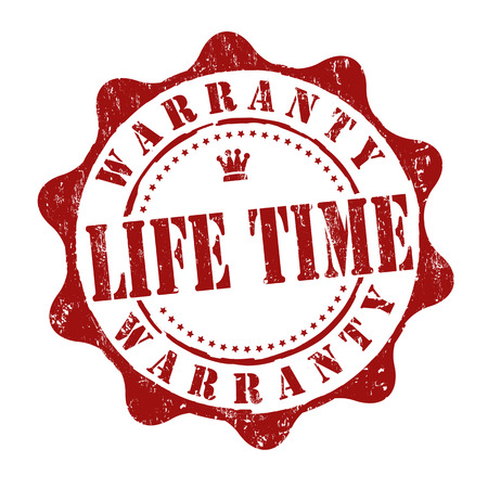 Lifetime warranty grunge rubber stamp on white, vector illustration Illustration