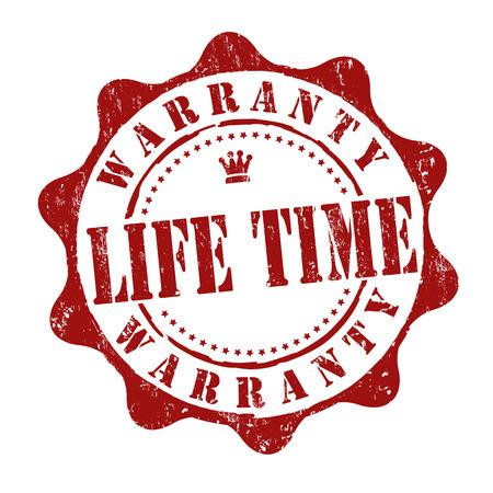 Lifetime warranty grunge rubber stamp on white, vector illustration Çizim