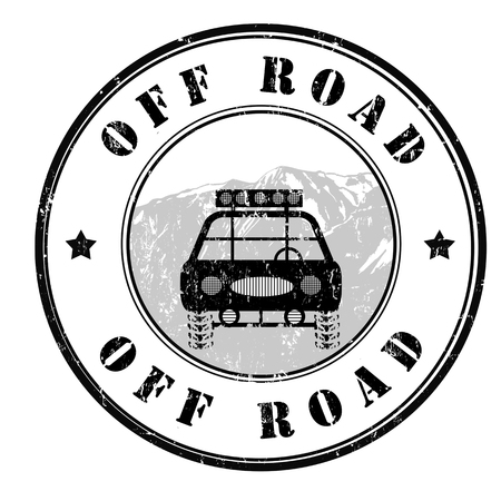 off road: Off road grunge rubber stamp on white, vector illustration