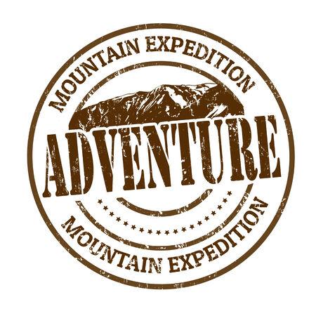 Mountain expeditie, avontuur rubber stempel op een witte, vector illustratie Vector Illustratie