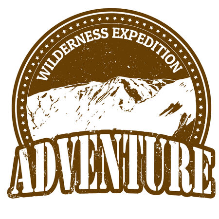 Wilderness expedition, adventure rubber stamp on white, vector illustration Vector