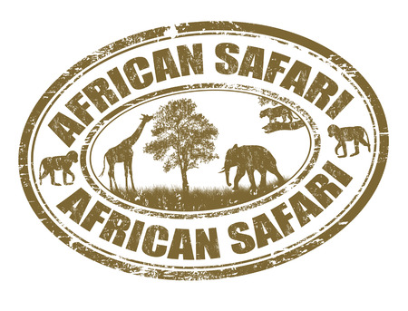 Safari in Afrika Grunge-Stempel auf weiß, Vektor-Illustration