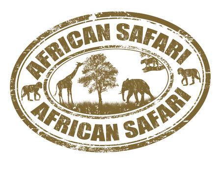 monos: Safari grunge sello de goma Africana sobre blanco, ilustración vectorial