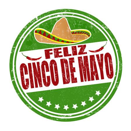 Happy 5. Mai in spanischer Sprache (Feliz Cinco de Mayo) Grunge-Stempel auf weiß, Vektor-Illustration