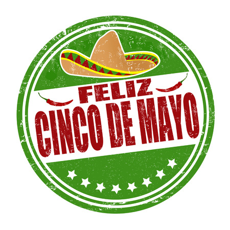 chilli: Happy 5th of May in spanish language (Feliz Cinco de Mayo) grunge rubber stamp on white, vector illustration
