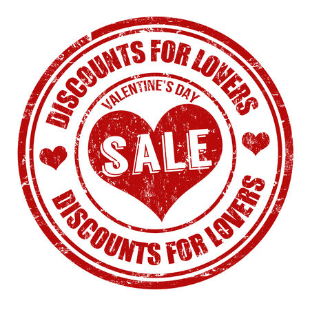 Valentines Day Sale, discounts for lovers, grunge rubber stamp on white, vector illustration Vector