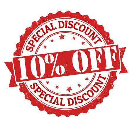 Réduction spéciale de 10% grunge timbre en caoutchouc sur fond blanc, illustration vectorielle