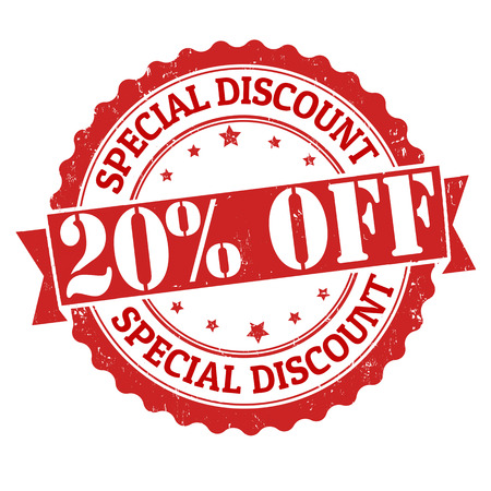 discount banner: Special discount 20% off grunge rubber stamp on white, vector illustration
