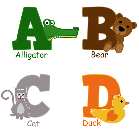 Alphabet animals from A to D on white background, vector illustration Vector