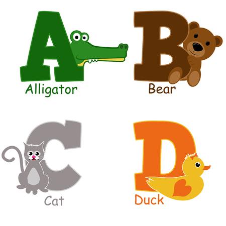 alfabeto con animales: Animales del alfabeto de la A a D en el fondo blanco, ilustraci�n vectorial