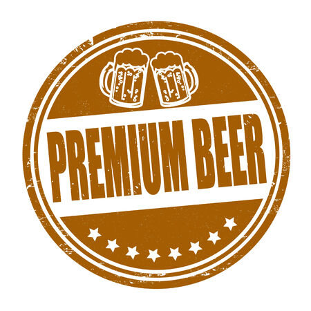 draft beer: Premium beer grunge rubber stamp on white, vector illustration