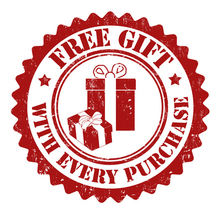 Free gift with every purchase grunge rubber stamp on white, vector illustration Ilustração