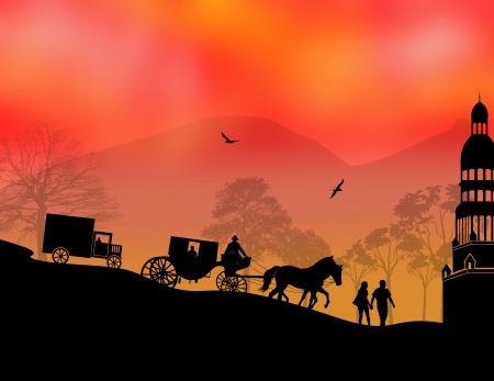 horse cart: Carriage, car and lovers at sunset in beautiful landscape, vector illustration