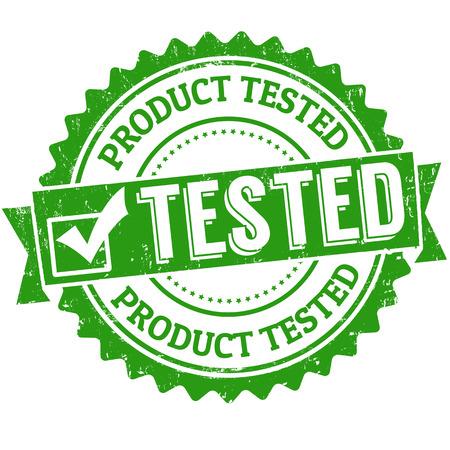 control de calidad: Producto probado grunge sello de goma en blanco, ilustración vectorial