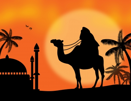 dune: Rajasthan travel background - indian cameleer (camel driver) with mosquee on sunset, vector illustration Illustration