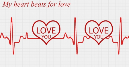 pulsation: My heart beats for love abstract concept background, vector illustration