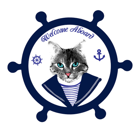 aboard: Tomcat sailor on steering wheel and the text welcome aboard, vector illustration