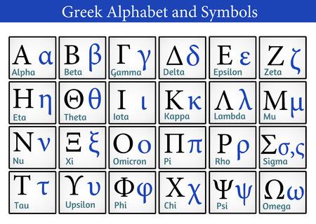 Alfabeto y símbolos griegos (útil para la Educación y Escuelas), ilustración vectorial Ilustración de vector