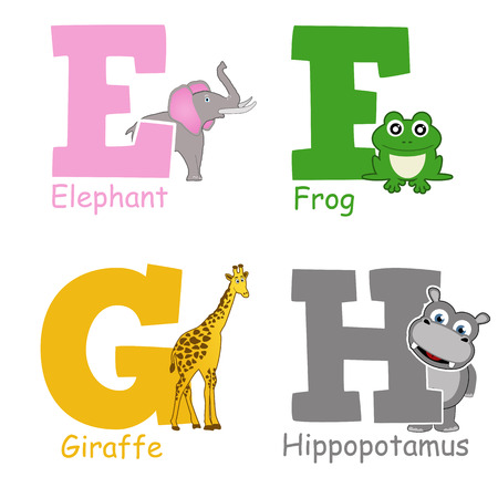 g giraffe: Alphabet animals from E to H on white background, vector illustration