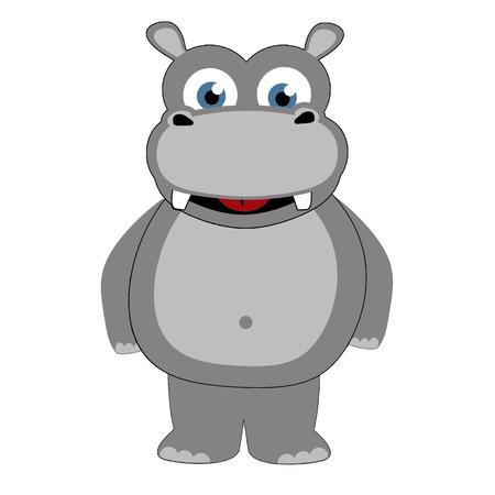 hipopotamo caricatura: Hippopotamus en el estilo de dibujos animados caricatura sobre fondo blanco, ilustración vectorial.